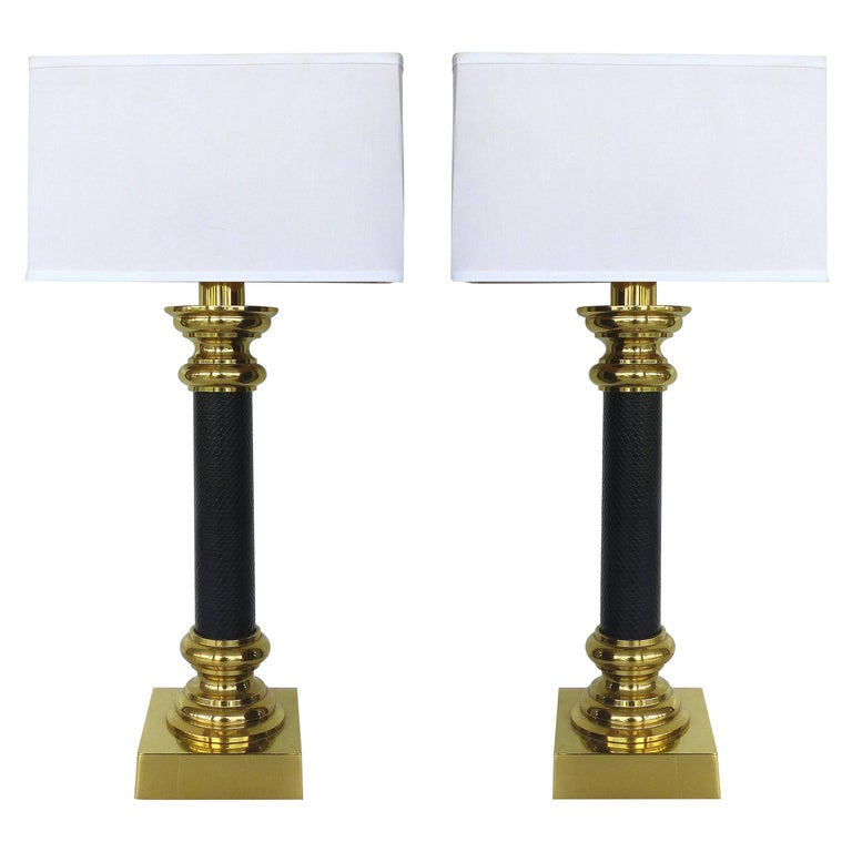 Quality Table Lamps: Fine Quality Pair Of Stiffel Brass And Leather Classical