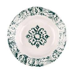 Hand Printed Green and White Floral Soup Plates, Set of Four