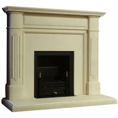 21st Century Irish Carved Limestone Fireplace Metal Trim and Fire Basket