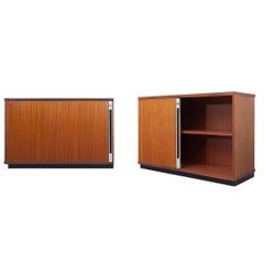 Mid-Century Modern Set of Two Teak Office Cabinets with Tambour Doors