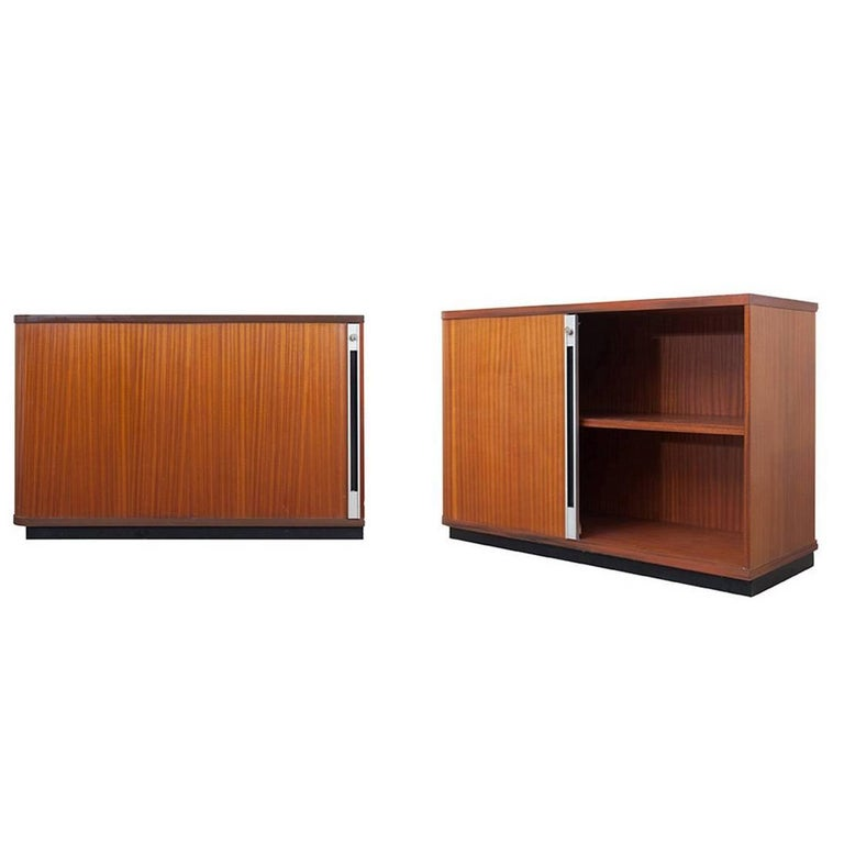 Set of Two Teak Office Cabinets with Tambour Doors