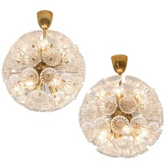 Pair of Brass and Crystal 'Flower' Sputniks