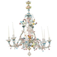 Large Early 19th Century Venetian Colored Glass Chandelier