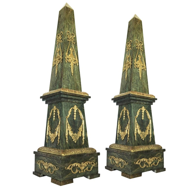 Monumental Pair of Marble and Gilt Bronze Obelisks