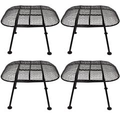 "Russell Woodard 1950s ""Sculptura"" Black Iron Mesh Ottomans, Priced Individually"