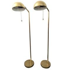 Pair of Rare Swedish Brass Elit Floor Lamps, 1955
