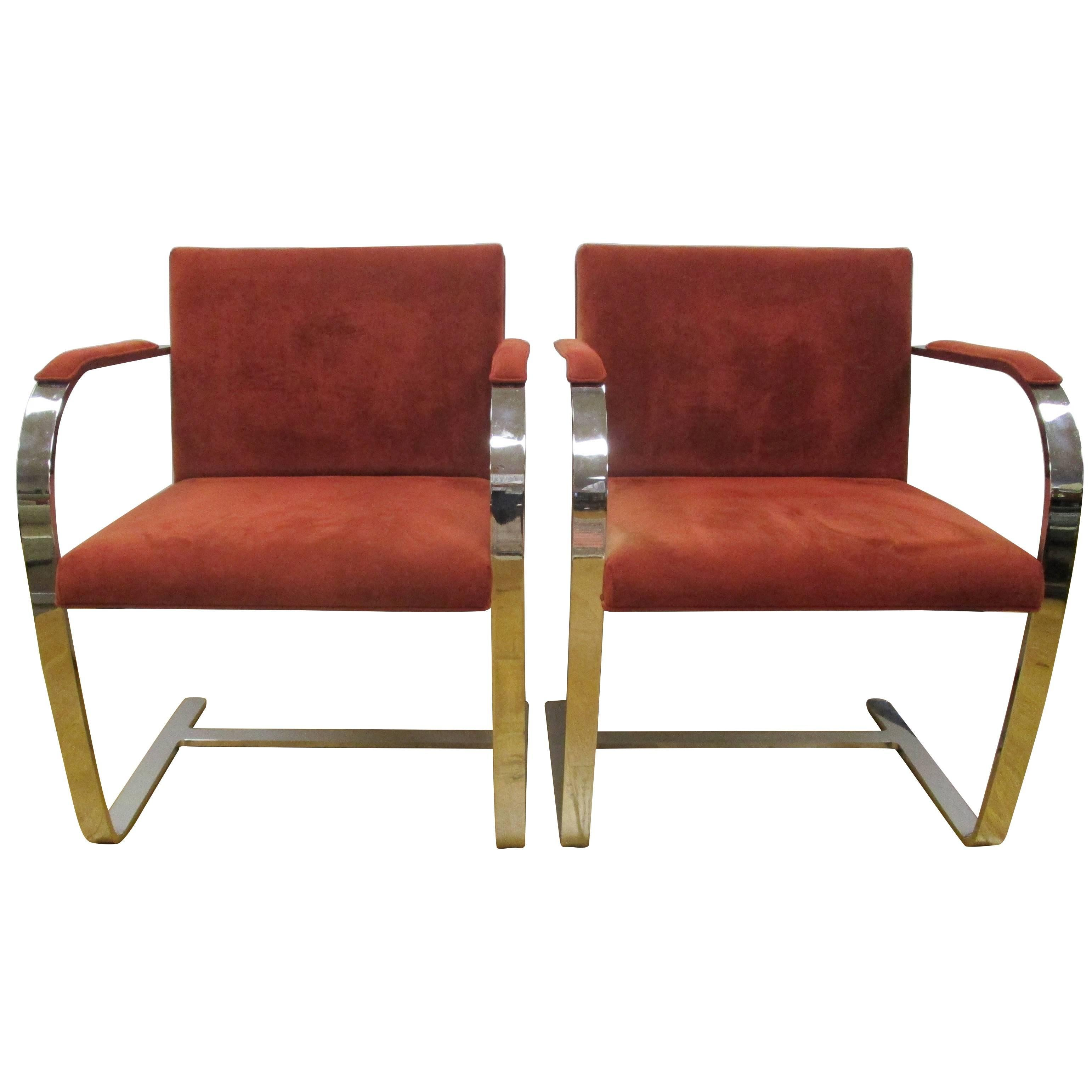 Pair Of Alivar Italy Suede Leather Cantilevered Van Der Rohe Style Chrome  Chairs At 1stdibs