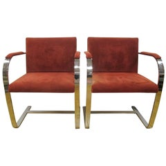 Pair of Alivar Italy Suede Leather Cantilevered Van der Rohe Style Chrome Chairs