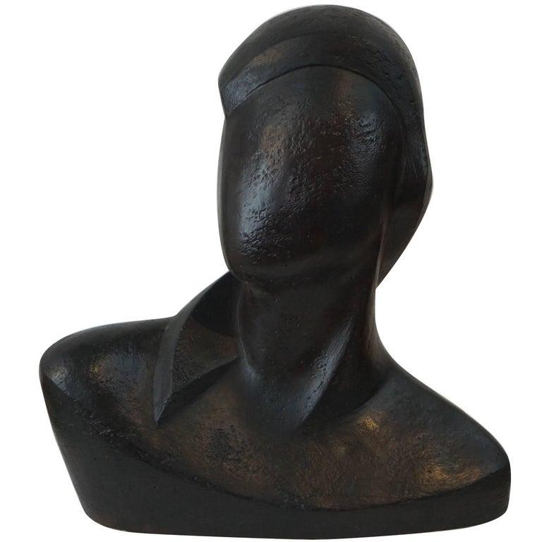 Modernist Sculpture of a Bust in Black