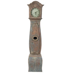 18th Century  Swedish Rococo Long Case Clock With Original Paint