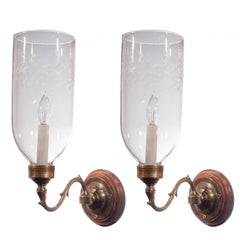 Pair of 19th Century English Etched Hurricane Shade Wall Sconces