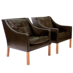 Pair of Model 2207-22 Black Leather Armchairs by Borge Mogensen