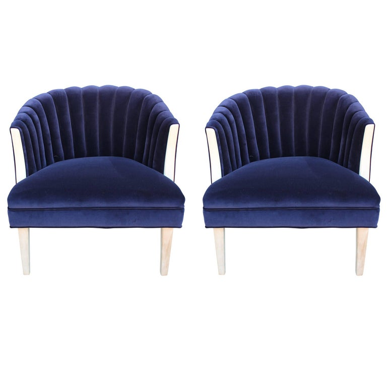 Pair of Modern Channel Back Lounge Chairs