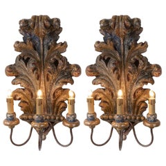 Pair of Italian Sconces 1930s Blue Acanthus Leaf Carved Pine Three-Armed Lights