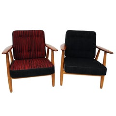 Pair of Danish Cigar Armchairs Ge240 from 1960`s by Hans J. Wegner for GETAMA