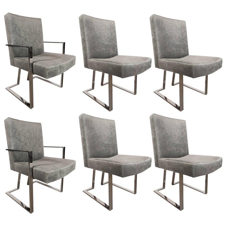 Set of Six Midcentury Chrome and Platinum Velvet Modern Chairs by Milo Baughman