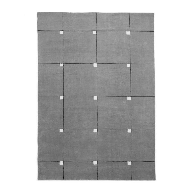 Modern Gray, Wool Cut Pile Rug in Scandinavian Design