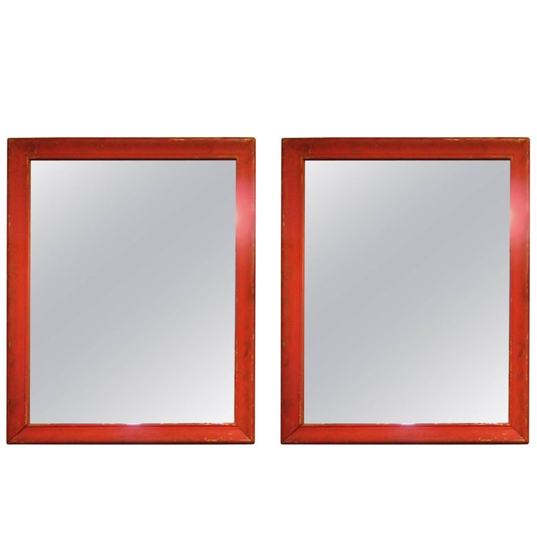 Pair of Large Mirrors Painted in Red, Mid-20th Century