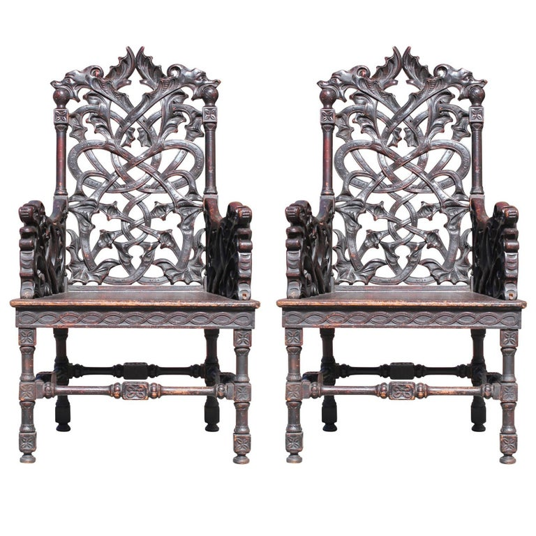 Brilliant Pair Of Celtic Style Gothic Carved Dragon Head Pearl In Bralicious Painted Fabric Chair Ideas Braliciousco