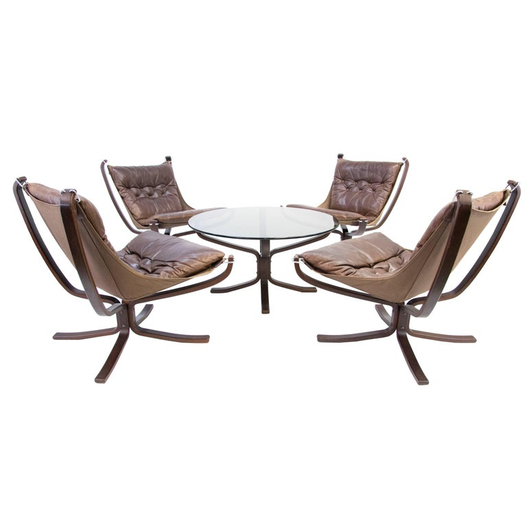 Falcon Chairs and Table by Sigurd Ressell