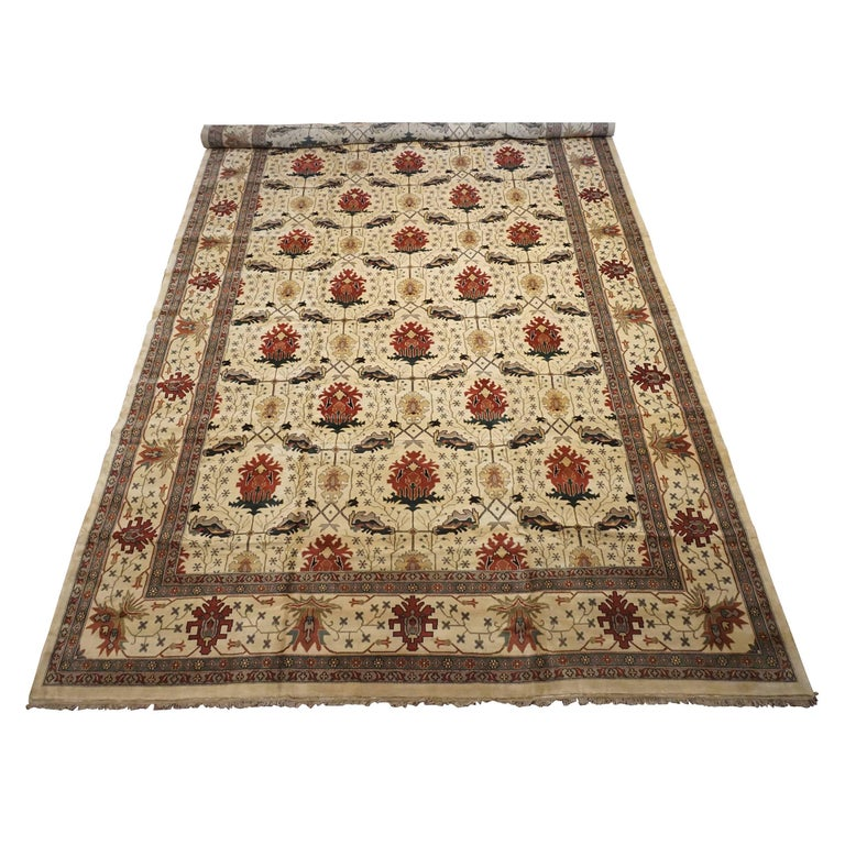 Hand Knotted Persian Style Wool Pile Area Rug: Art And Craft Hand-Knotted Wool Area Rug For Sale At 1stdibs