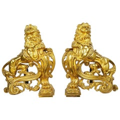 Pair of 19th Century Lion Fire Dogs or Chenets