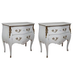 Pair of Vintage Auffray Painted Chests with Marble Tops