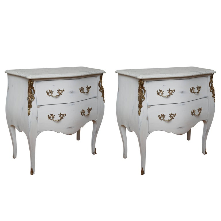 Pair of Vintage Auffray Painted Chests with Marble Tops For Sale