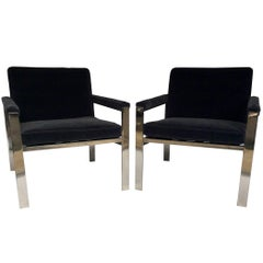 1970s Knoll Pair of Chrome and Mohair Lounge Chairs, Manner of Milo Baughman
