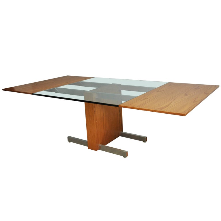 Vladimir Kagan Large Cubist Extension Dining Table in Oak, Aluminum and Glass For Sale
