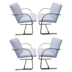 Set of Four Milo Baughman Chrome Dining Chairs Mid-Century Modern