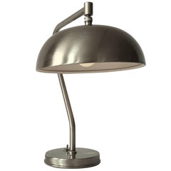 1950s Laquered Brushed Steel Table Lamp, USA