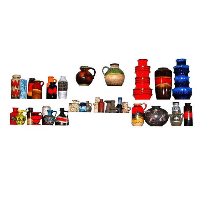 Collection of 33 West German Pottery Vases, Fat Lava Ceramics