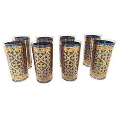 Vintage Set of Eight Highball Glasses Blue and Gold by Georges Briard