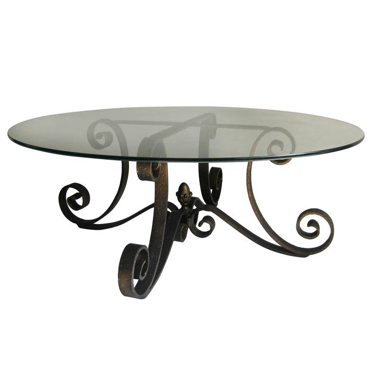 Glass Top Coffee Table With Iron Base: Mid Century Scrolled Forged Iron Table Base With Round