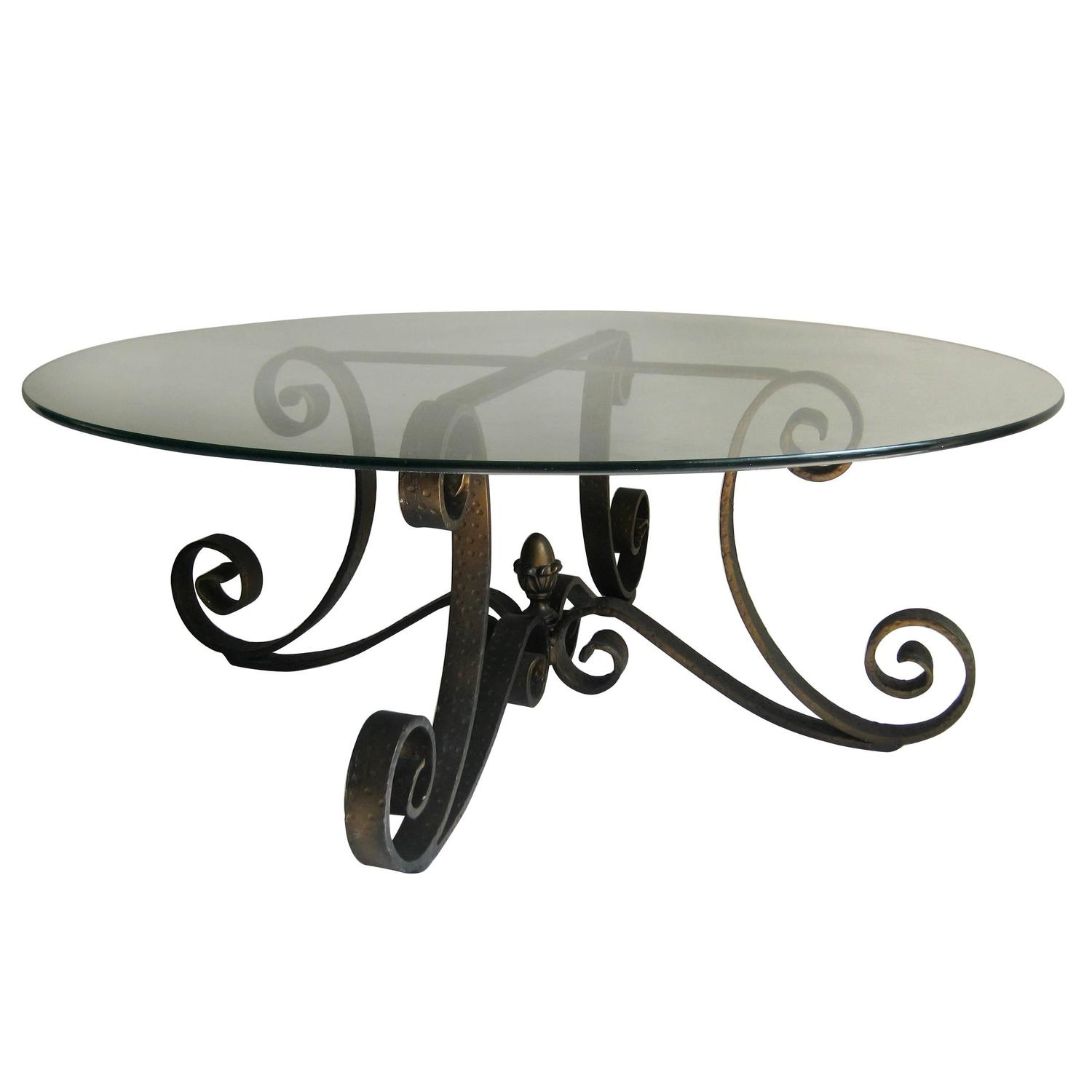 Mid Century Scrolled Forged Iron Table Base with Round Glass Top at