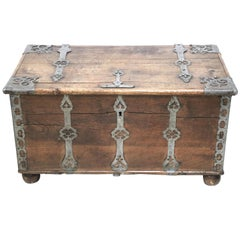 18th Century Swedish Baroque Iron Mounted Oak Trunk Treasure Chest