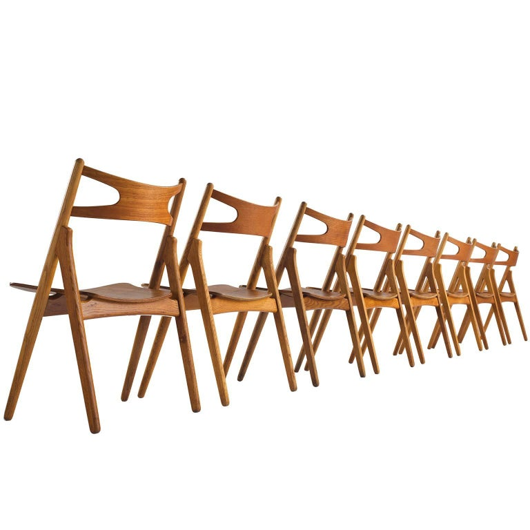 Hans J. Wegner Restored Set of Eight Matching Sawbuck Chairs For Sale