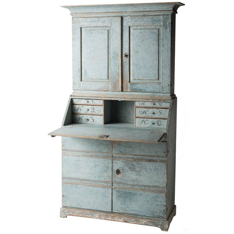 Swedish Early 19th Century Blue Painted Secretary, circa 1837 For Sale