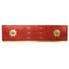 Stunning Chinoiserie Asian Style Red Lacquer and Brass Sideboard or Credenza
