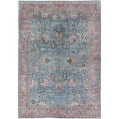 Sky Blue and Light Pink Antique Persian Tabriz Rug with Taupe Floral Motifs