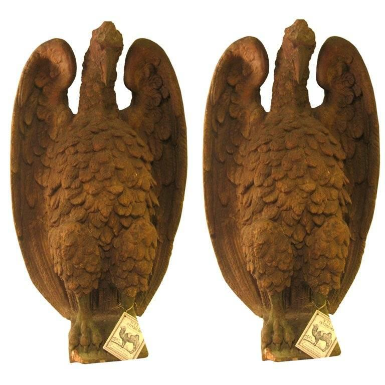 Pair of French 18th Century Terra Cotta Eagle Sculptures