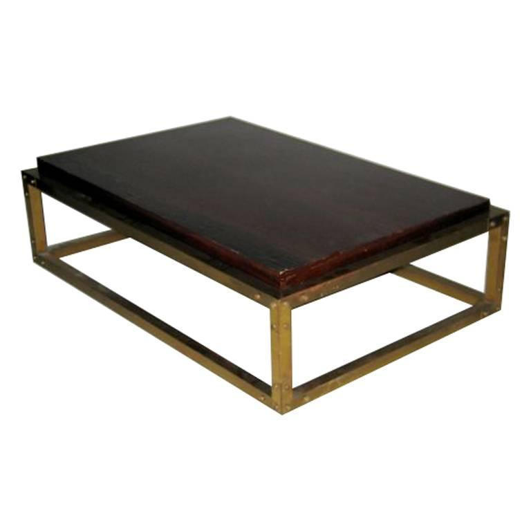 French mid century studded brass cocktail table at 1stdibs for Coffee table with studs