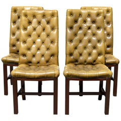 Button Tufted English Leather Dining Chairs, Set of 4