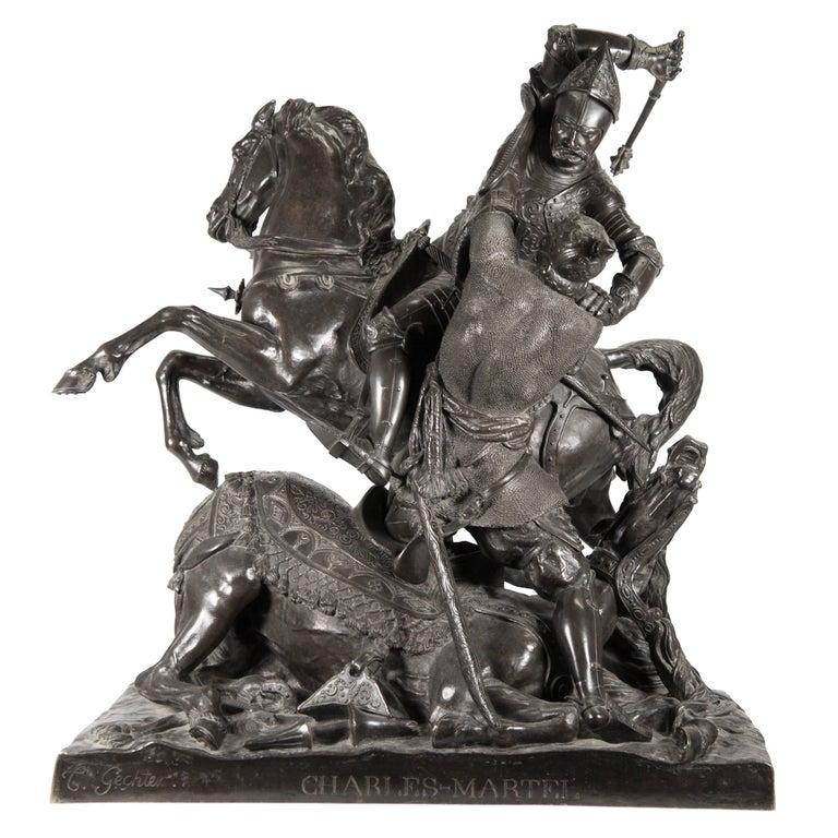 Charles Martel & Abderame, Bronze Statue by Theodore Gechter
