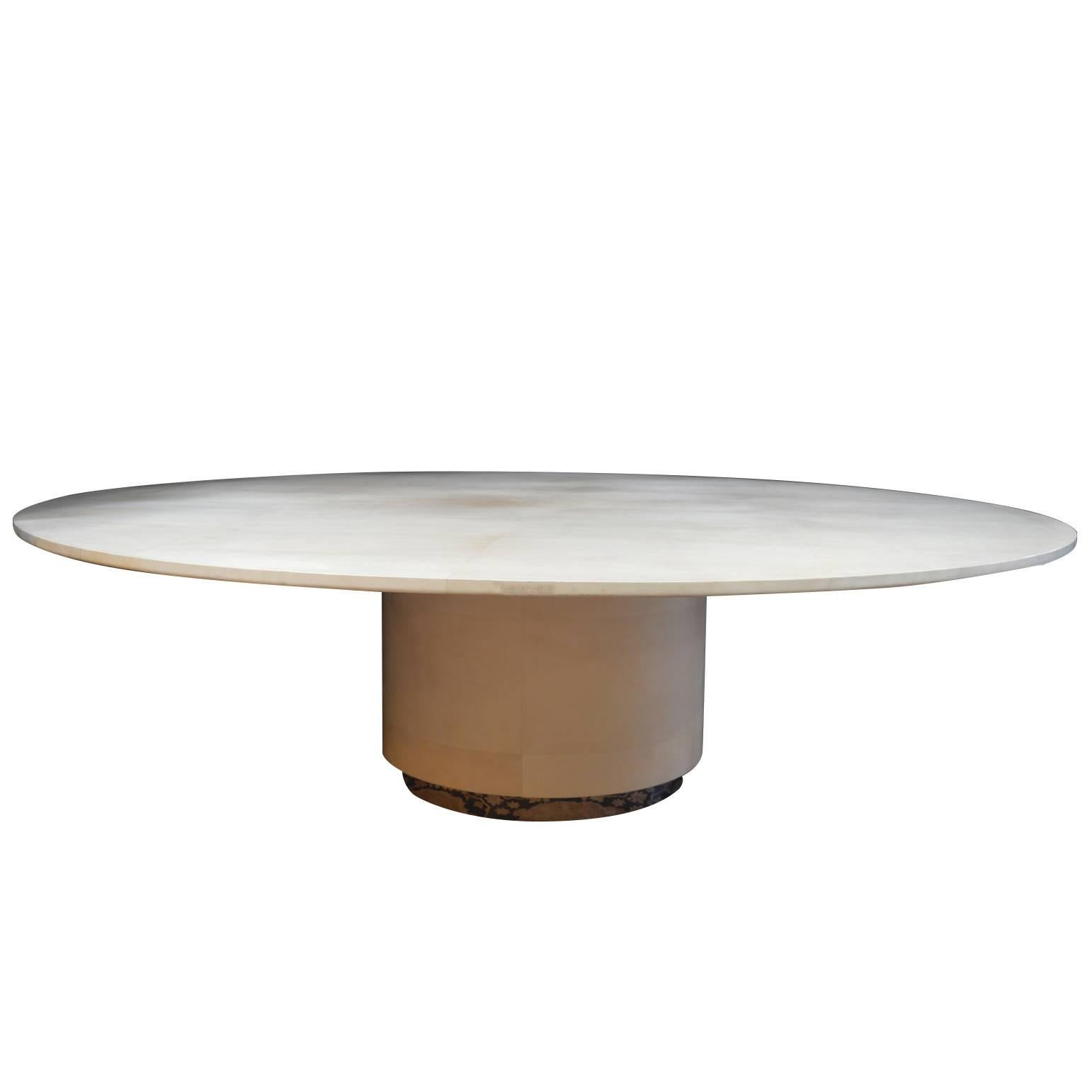 Large Round Parchment Dining Table