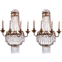 Pair of Italian Empire Sconces Gilt Iron Crystal Basket Wall Lights 19th Century