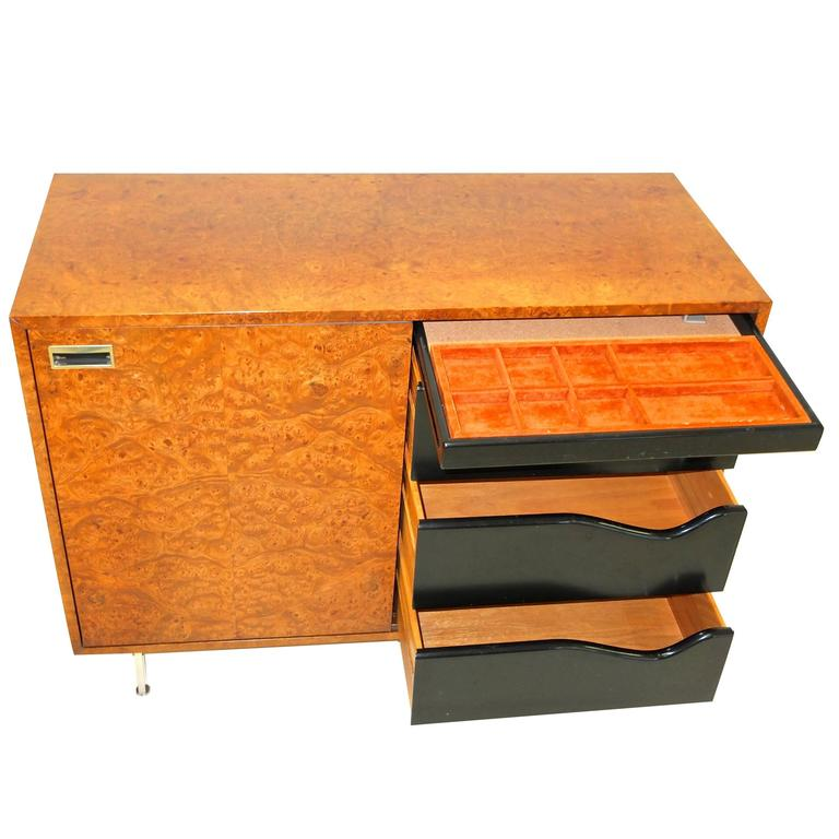 Harvey Probber Olive Burl Cabinet of Drawers For Sale
