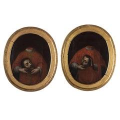 Pair of Paintings of Headless Saints, circa 1870