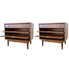 Pair of Kipp Stewart Nightstands with Pull Out Magazine Shelves, circa 1965